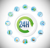 24 hour app service tool concept illustration Royalty Free Stock Images