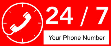 24 hour Call Center. Vector, 24 hour Call Center Royalty Free Stock Photo