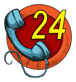 24 hour call service. Hand drawn, 24 hour call service icon, with blue old school phone Stock Photos
