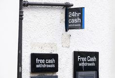 24 hour cash free withdrawal from atm machine. Uk stock photos