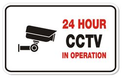 24 hour CCTV in operation - rectangle signs. Suitable for warning sign Royalty Free Stock Image