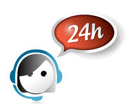 24 hour customer support illustration design. Over white Royalty Free Stock Image