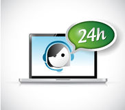 24 hour customer support service on a computer. Illustration design over a white background Stock Image