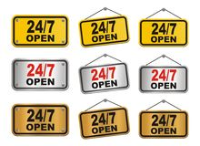 24 hour 7 day open sign. Suitable for user interface Stock Photos