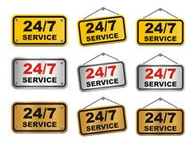 24 hour 7 day service sign. Suitable for user interface Stock Photos