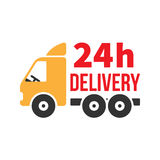 24 Hour Delivery Icon. Next Day Shipping. Flat Style Vector. 24 Hour Delivery Icon. Next Day Shipping. Flat Style Vector Royalty Free Stock Image
