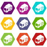 24 hour delivery icons set 9 vector. 24 hour delivery icons 9 set coloful isolated on white for web Stock Images