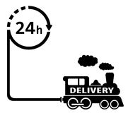 24 hour delivery symbol. With train for rail road industry Stock Photography