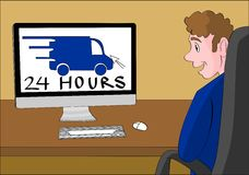 24 hour delivery webshop. 24 hours delivery message on a computer monitor. Guy who reads it is happy Royalty Free Stock Photography