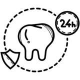 24 Hour Dental Care, Tooth icon vector illustration