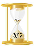 Hour glass 2012. An illustration of a hour glass depicting sand running out from 2011 and into 2012 Stock Images