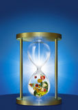 Hour Glass. An illustration of an hour glass containing fruit and veg royalty free illustration