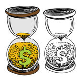 Hour Glass Money Sand Stock Photography