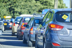 The hour of greater vehicular congestion. High traffic. Blurred background with selective focus. The hour of greater vehicular congestion. High traffic Royalty Free Stock Photography
