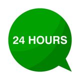 24 hour, Green Speech Bubble Royalty Free Stock Photography