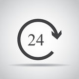 24 hour icon with shadow on a gray background. Vector illustration Stock Image