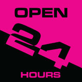 24 hour open icon in pink and black color illustration. 24 hour open icon in pink and black color art illustration Stock Images