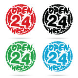 24 hour open icon set in various color design illustration. On white Stock Image