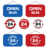 24 hour open icon signboard design set illustration. On white Stock Photos