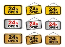 24 hour open sign. Suitable for user interface Stock Photography
