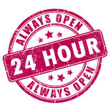 24 hour open stamp Royalty Free Stock Image