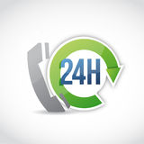 24 hour phone customer support illustration. Design over a white background Royalty Free Stock Photography