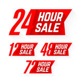 12, 24, 48 and 72 Hour Sale labels. Illustration Royalty Free Stock Image