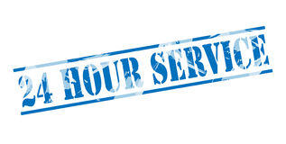 24 hour service blue stamp. On white background Royalty Free Stock Photos