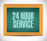 24 hour service board sign illustration design. Over a white background Stock Image
