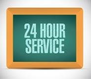 24 hour service board sign illustration design Stock Image