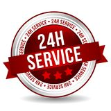 24 hour Service Button - Online Badge Marketing Banner with Ribbon. Eps10 Vector Royalty Free Stock Photo