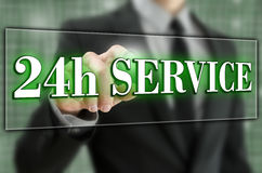 24 hour service. 24h service icon on virtual screen Stock Photos