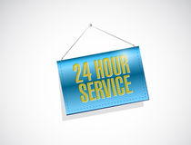 24 hour service hanging banner illustration. Design over a white background Stock Photography