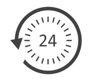 24 hour service icon illustrated. On white background Stock Photography