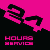 24 hour service icon in pink and black color illustration. 24 hour service icon in pink and black color art illustration Stock Photography