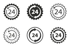 24 hour service icon set. 24 hour service vector icons set. Black illustration isolated on white background for graphic and web design Stock Images