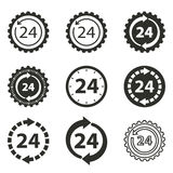 24 hour service icon set. 24 hour service vector icons set. Black illustration isolated on white background for graphic and web design Stock Illustration