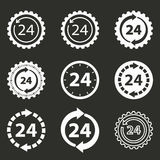 24 hour service icon set. 24 hour service vector icons set. White illustration isolated on black background for graphic and web design Stock Photo