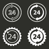 24 hour service icons set. 24 hour service vector icons set. White illustration isolated for graphic and web design Royalty Free Stock Images