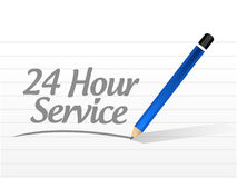 24 hour service message illustration. Design over a white background Stock Image