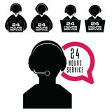 24 hour service with people icon set illustration. 24 hour service with people icon set art illustration Royalty Free Stock Photography