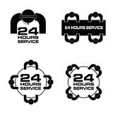24 hour service with people icon set illustration in black color. 24 hour service with people icon set art illustration in black color Stock Photos