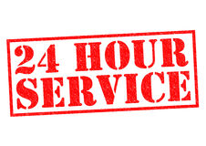 24 HOUR SERVICE. Red Rubber Stamp over a white background Stock Photography