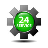 24 hour service sign. Illustration of a 24 hour service sign on a gear or cog, white background Royalty Free Stock Images