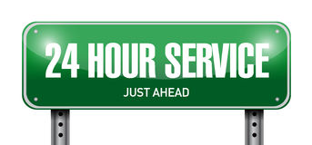 24 hour service street sign illustration design. Over a white background Royalty Free Stock Photos