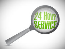 24 hour service under magnify glass Stock Photography