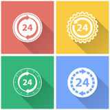 24 hour service - vector icon. 24 hour service vector icon with long shadow. White illustration isolated on color background for graphic and web design Royalty Free Stock Images