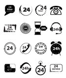 24 Hour Services Icons Set. Vector illustration of 24 hour time black icons, 24 hour call center black icons on a white background Royalty Free Stock Photography