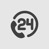 24 hour support icon illustration. Vector sign symbol Royalty Free Stock Photography