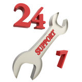 24 hour support. Isolated on white background 3d image Royalty Free Stock Image